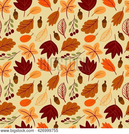 Seamless Pattern With Autumn Leaves Hand Drawn In Simple Childish Scandinavian Style. Cute Foliage V