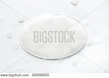 Oval Ice Winter Frame, Frozen Cold Off White Textured Background. Flat Lay, Top View With Copy-space