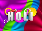 Indian colorful festival Holi celebration background with colors splash, color gun(pichkari). EPS 10. poster