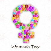 Happy Women's Day background with flowers decorated feminine symbol. poster
