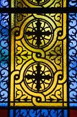 Stained-glass window at the Agios Nickolaos Church in Litochoro Pieria Greece Europe (at the base of Mount Athos) poster