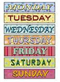 a illustration of Days of the week poster