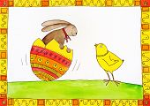 Easter card child's drawing watercolor painting on canvas paper poster