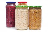 some jars with different preserved legumes, such as white beans, red beans, lentils and chickpeas on a white background poster