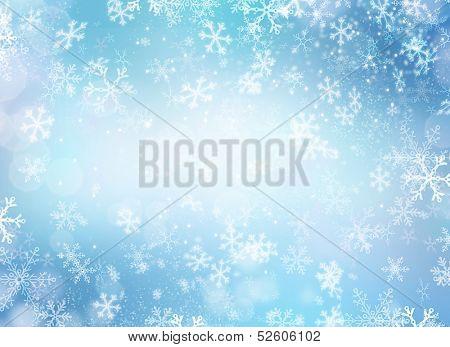 Vacaciones de invierno nieve fondo. Navidad fondo abstracto con copos de nieve. Color azul
