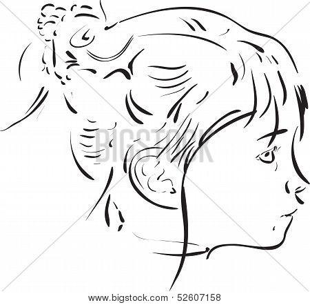 Calligraphic Girl Portrait