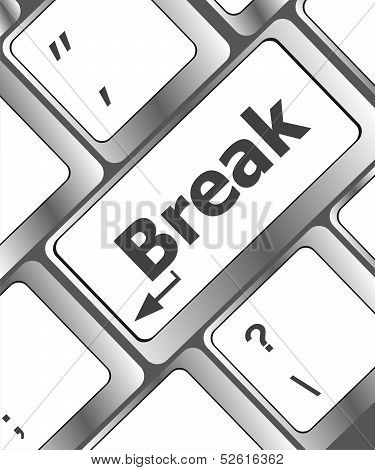 Keyboard With Break Button, Business Concept
