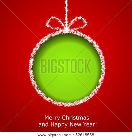 Abstract Xmas greeting card with green Christmas ball cutted from red paper background. Vector eps10 illustration poster