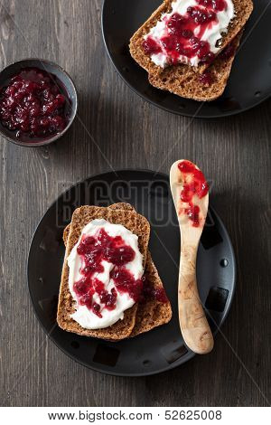 bread with creme fraiche and lingonberry jam  poster