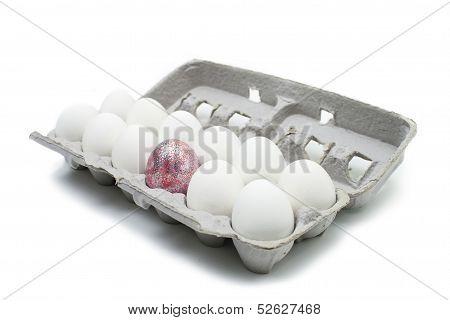 sparkly egg amongst regular