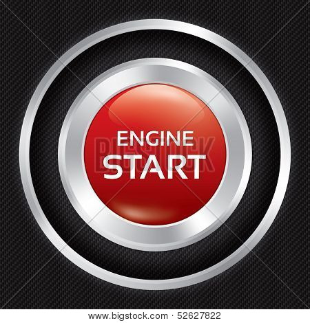 Start Engine button on Carbon fiber background. Vector realistic metallic icon with gradient. Seamless texture. poster