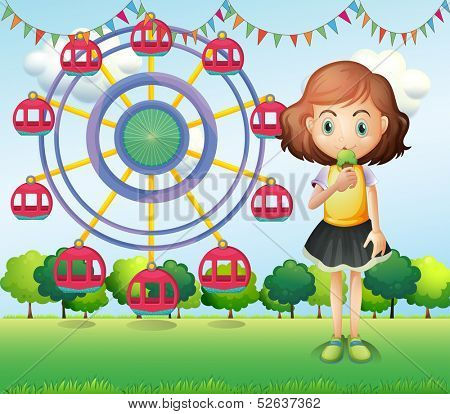 Illustration of a girl at the carnival