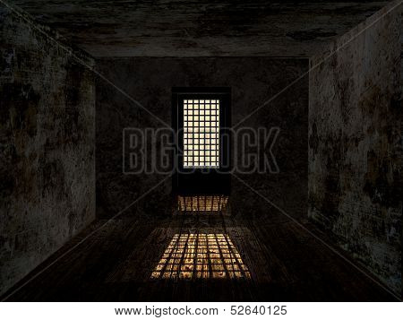 Gloomy dungeon with dirty rusty wall and guarded window. poster