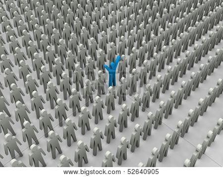 Unique person in crowd. Concept 3D illustration poster