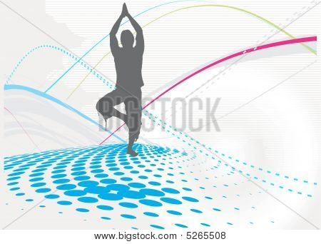 halftone wave line yoga silhouette vector illustration poster