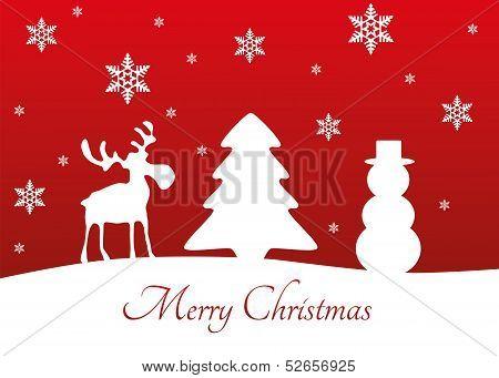 Vector Christmas Tree Reindeer Snowman