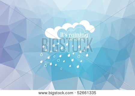 Rainy clouds with raindrops on triangle background