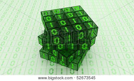 Digital Binary Magic Cube Box - Green Glass 4X4