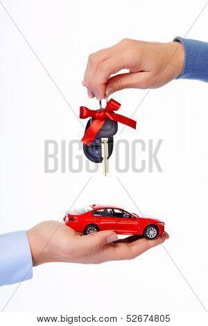 Car keys. Auto dealership and rental concept background.