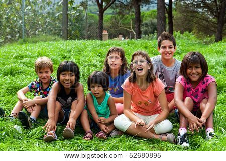Diversity Portrait Of Kids Outdoors.