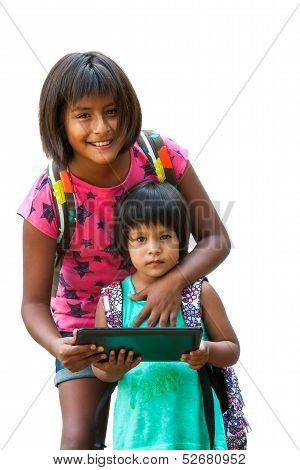 Girl Showing Tablet To Youngster.