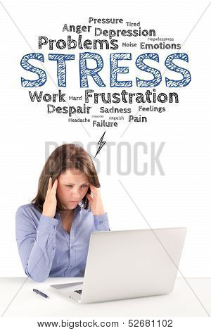 Business woman is sitting under stress emotions bubble in front of modern laptop and holding hands behind her head business concept poster