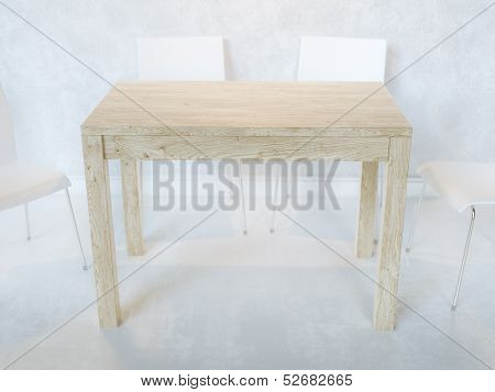 White Minimalist Dining Room With Wooden Table And Plywood Chairs