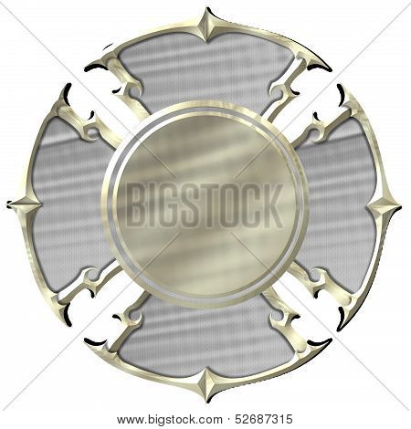 Blank Silver and Gold Maltese Cross Fire Department Emblem