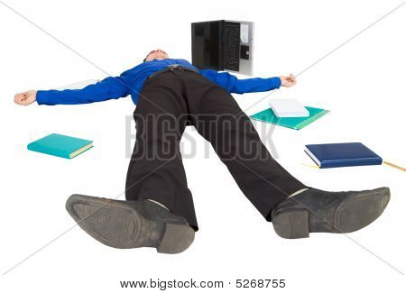 Businessman Lies On A Floor Among The Things