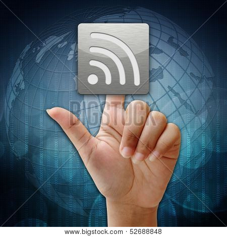 In Press Wireless Icon On Global Background