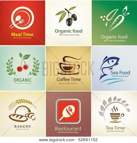 Different Food And Drinks Icons Set, Background Templates
