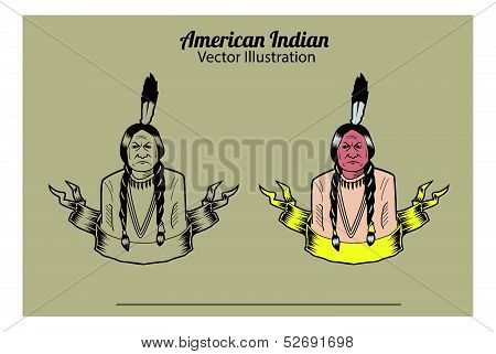 American Indian Vector Illustrattion