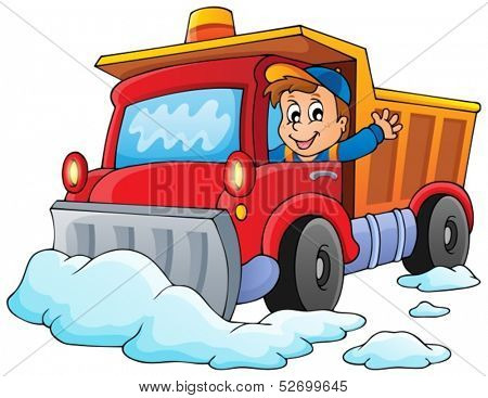 Snow plough theme image 1 - eps10 vector illustration.