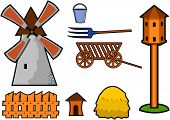 windmill with dovecote fence and other things poster