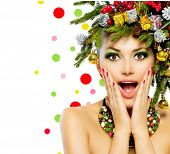 Christmas Woman. Beautiful New Year and Christmas Tree Holiday Hairstyle and Make up. Beauty Girl with Colorful Makeup, Hair, Nail polish and Accessories. Surprised Woman. Open Mouth, Emotions  poster