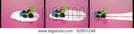 Toy Car Driving Through Milk