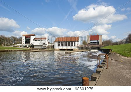 Weir With Pumping Station In Dam