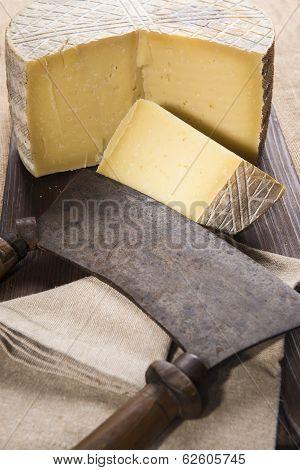 Handmade Sheep Cheese On The Cutting Board