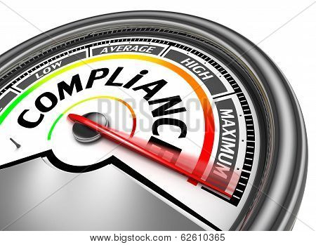compliance conceptual meter indicate maximum isolated on white background poster