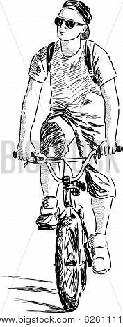 Vector sketch of an young man on a bike.
