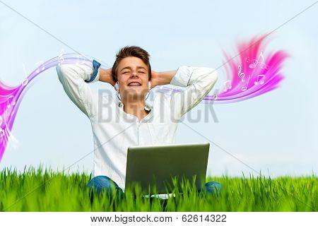 Teen Enjoying Music With Eyes Closed.