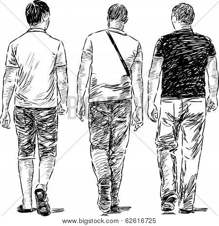 Vector sketch of the casual youg men on a stroll.