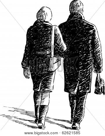 Vector sketch of the couple of  townspeople on a stroll.