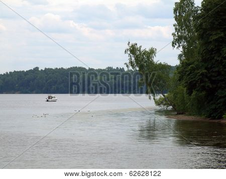 Nature of Lithuania. Kaunas artificial sea - Nemunas river weir. poster