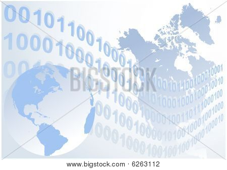 Abstract binary code waves with globe vector background