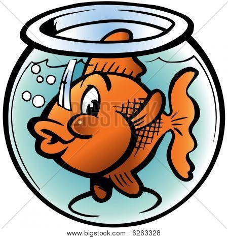 Goldfish sits in round aquarium and enigmatic looks around poster