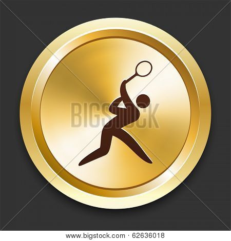 Tennis Icons on Gold Button Collection poster