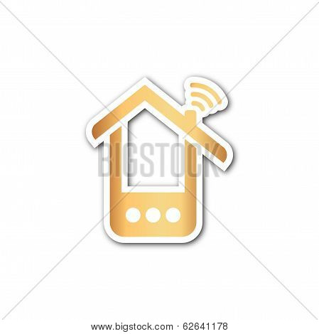 Paper phone house icon over white