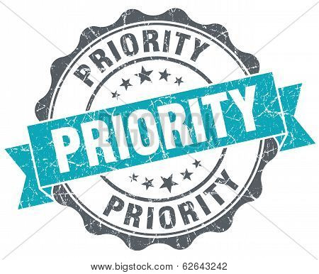 Priority Turquoise Grunge Retro Style Isolated Seal