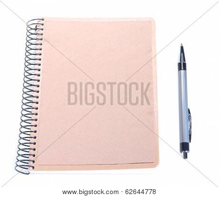 Notebook with pen isolated on white